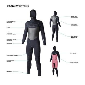 Seaskin 5/4/3 Hooded Full Suit Front Zip Stretch limestone Neoprene Wetsuits