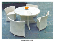 Coffee rattan dining round table and chair sets with tempered glass table