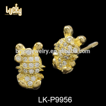 Stone jewelry friendship cute animals shaped 14k gold plated earring base for non pierced earring making
