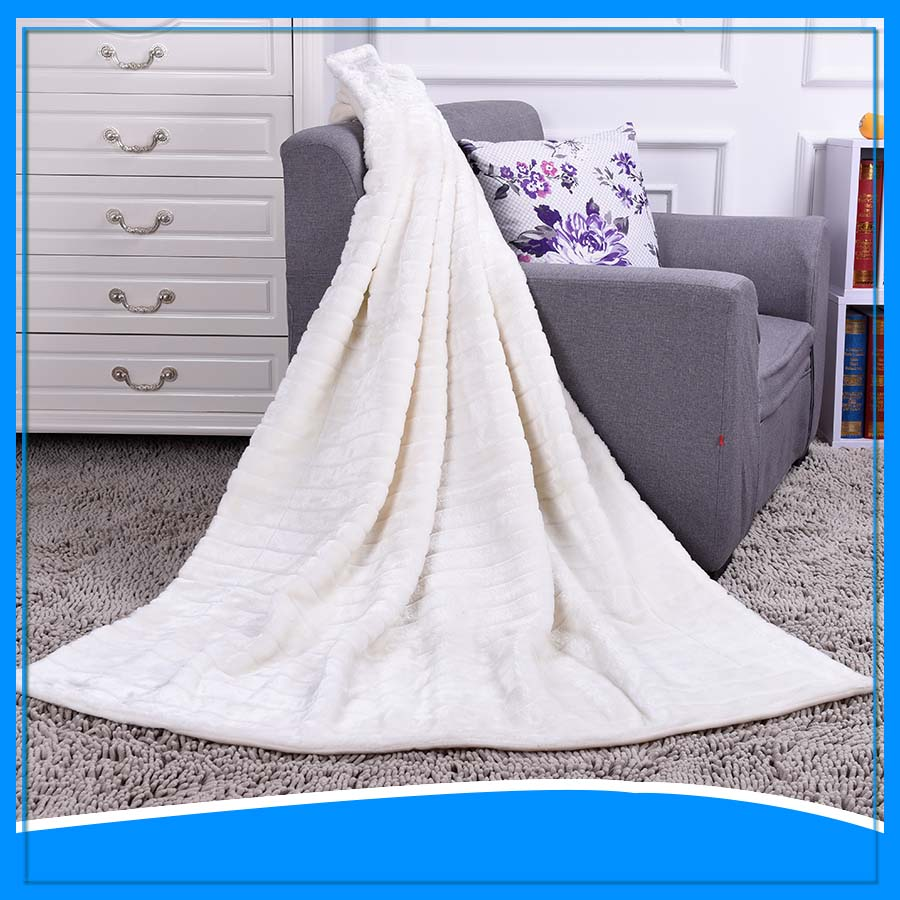 white color jacquard design softextile100% polyester 2-ply fleece blanket sensory blanket