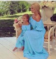 Summer family matching clothes maxi solid chiffon Mother Daughter Dresses Family look Clothing Beach mom and