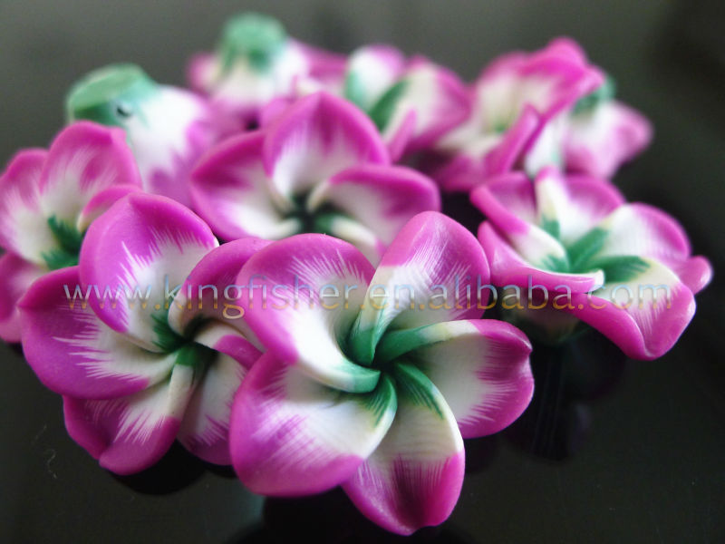 Newest Styles Plumeria Clay Flowers,15mm Rose&green Colors Clay ...