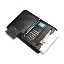 OEM Printing 탑 Genuine Leather Portfolio Zipper Pocket 문서 폴더