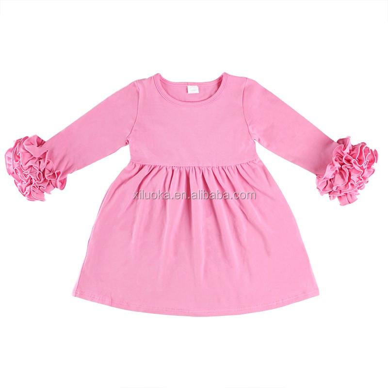 d3d28ec1314b2 Partie robe bébé Enfants mignon pas cher mode fille robe À Volants solide  enfants vêtements