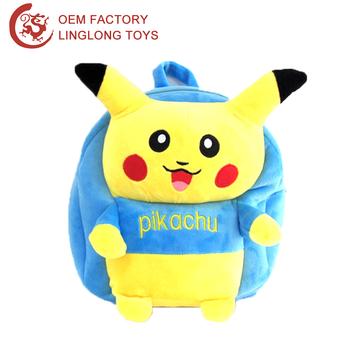 Stuffed Pokemon Go Pikachu Bag Yellow Toy Blue Plush School Backpack