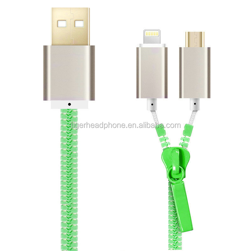 New High Quality Portable 2 In1 Micro USB Cable Zipper Design USB Data Charge Cable