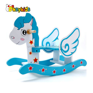 Wholesale beautiful unicorn design wooden first rocking horse for baby W16D115