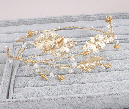 Gold leaves Tiara Flower Leaf Wedding Bridal Hair Crown Accessories