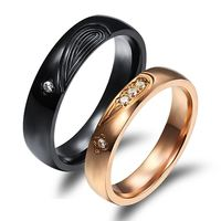 Couple Healf Heart Puzzle Rings Romantic Black/Rose Gold Stainless Steel + CZ Diamond Women/Men Wedding Jewelry GJ455