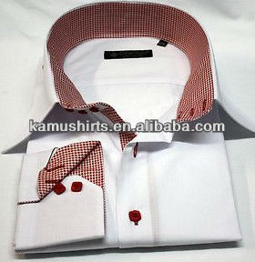 High Collar Men's Shirts Italian Design Shirts Pink Checks Collar White Dress Shirt