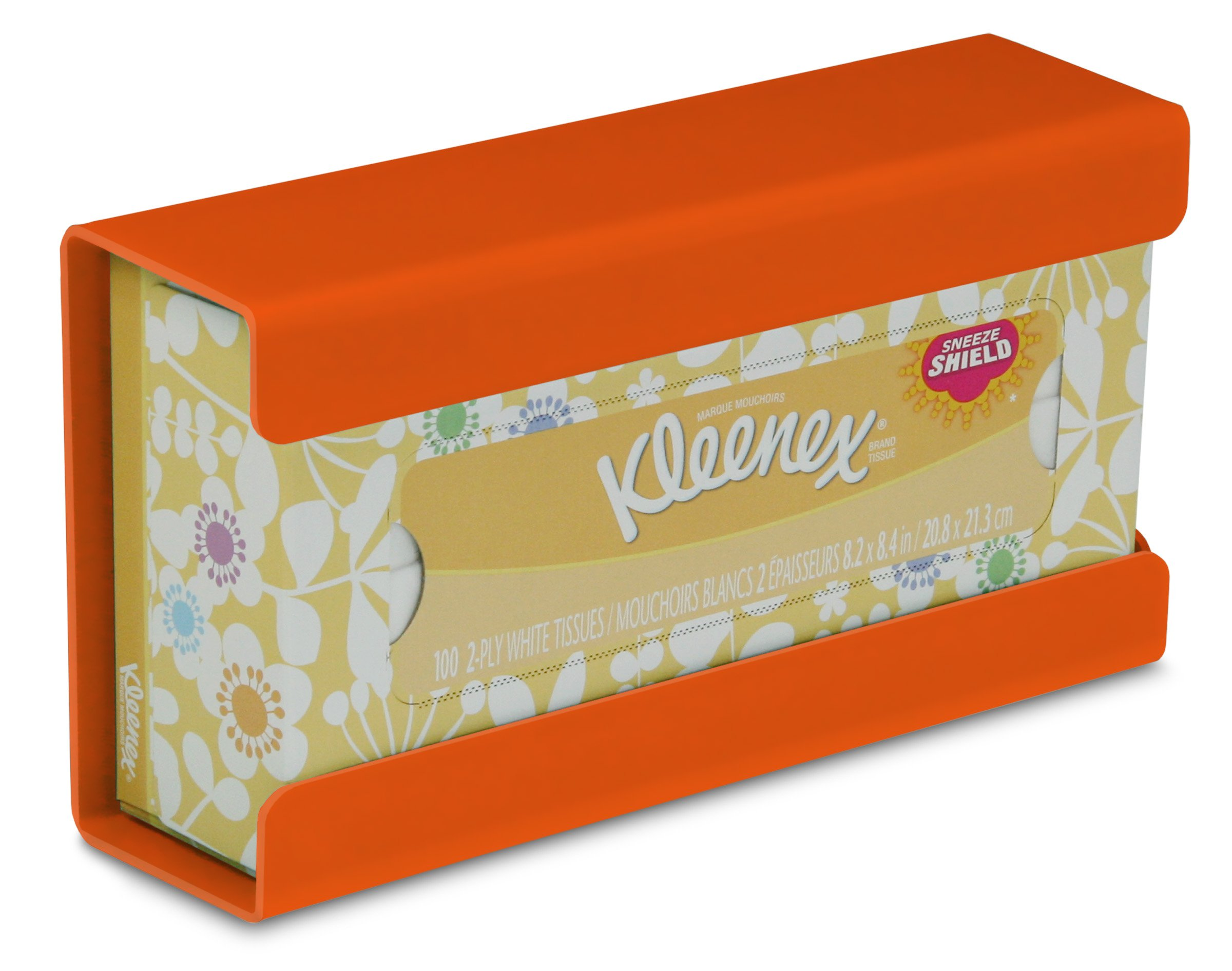 "TrippNT 51209 Plastic Wall Mountable Kleenex Box Holder, 9-7/8"" Width x 5-1/4"" Height x 2-3/4"" Depth, Small, Pumpkin Orange"