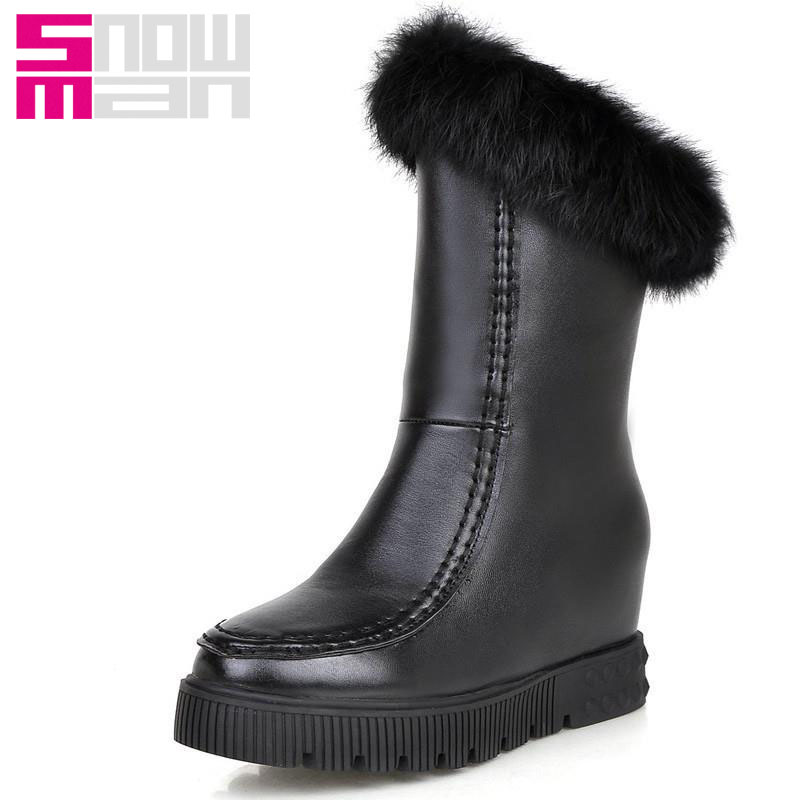 429821482f7d Get Quotations · 2015 Fashion Women s Fur Zipper Hidden Wedges Half Knee Boots  Platform Shoes Woman Snow Boots Add