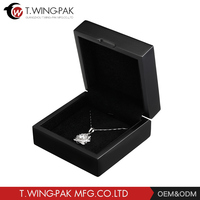 Most popular good quality wooden black gift jewelry box square nacklace box