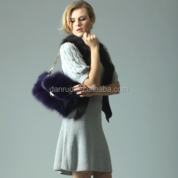 Factory directly supply Luxury fashion Ladies Handbags real Fox Fur Bag