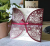wine red wedding invitations ! paper sunflower laser cutting wedding card invitations in different colors