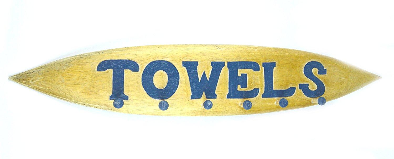 Hand Carved TOWELS SURFBOARD towels beach Hanger Holder Surfboard Wooden Wall Hanging Art Sign Tiki Bar