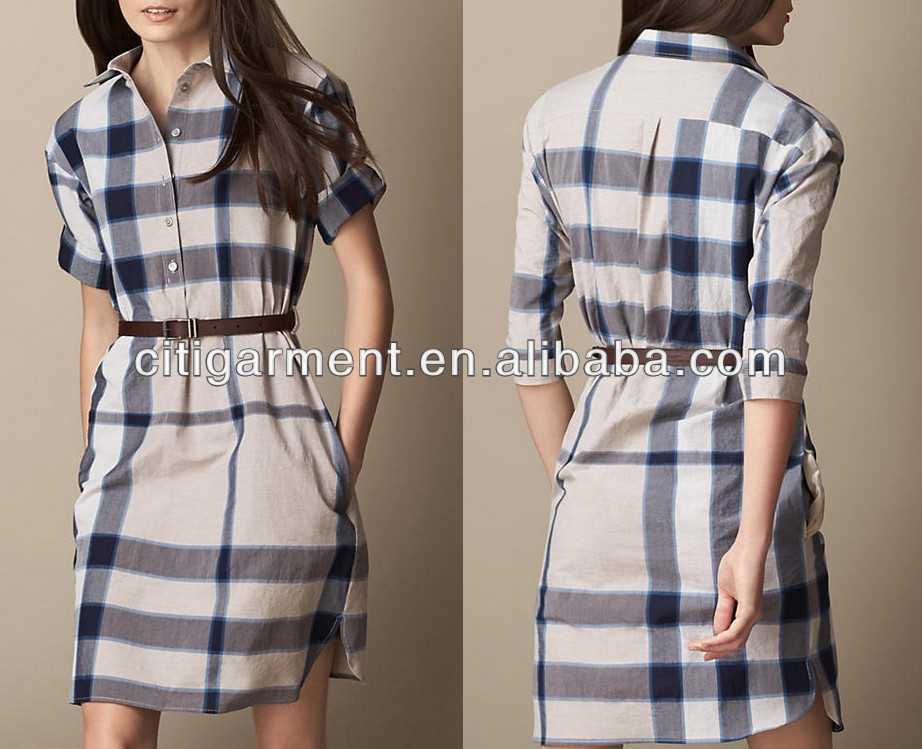 425286c58a Women Check Shirt Dress With Leather Belt - Buy Tight Dress With ...