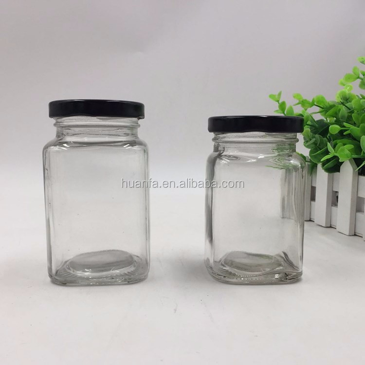 280ml/380ml airtight rectangle clear glass jar with screw top lids for honey/candy/jam/sauce/pickle glass jar