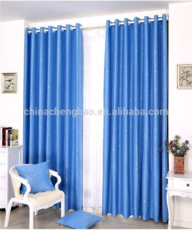 blue color ready made japanese door curtain for window