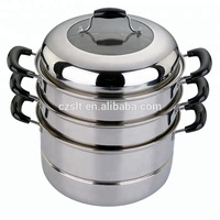 Portable three layer pots metal stainless steel steamer with lid