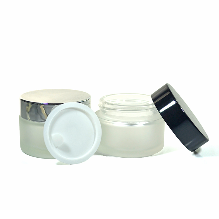 15ml 50ml 100ml cosmetic clear frosted glass cream jar