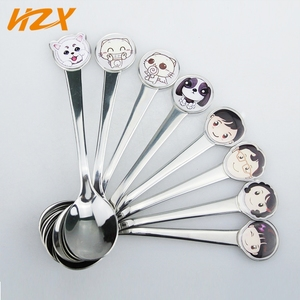 Wholesale Safe Material Promotion Gift Children Spoon Set Stainless Steel Lovely Cartoon Baby Spoon