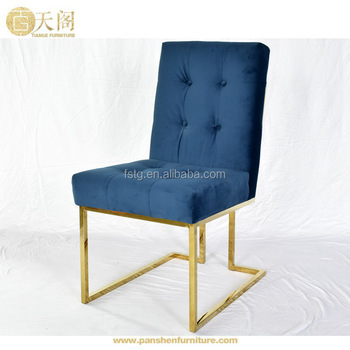 Replica Modern Furniture Goldfinger Navy Soft Blue Velvet Upholstery