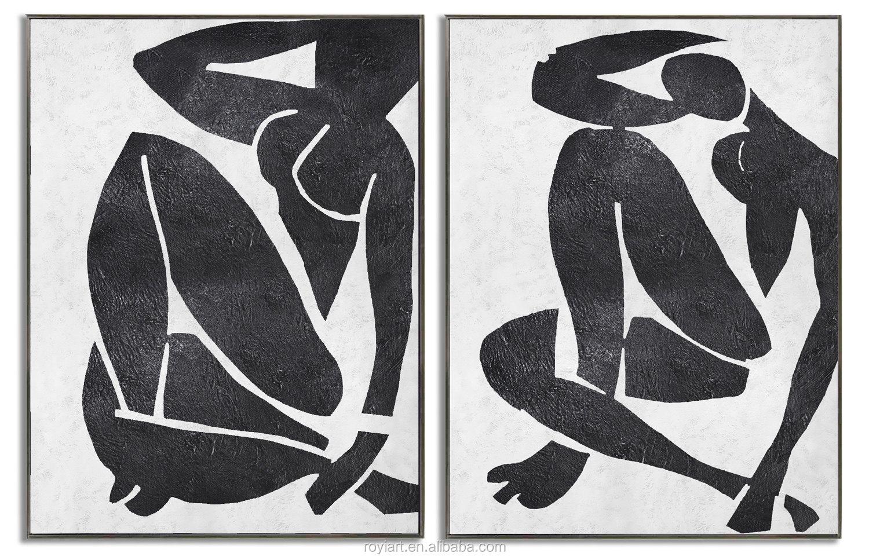2 panel kanvas kreatif wall art abstrak modern minyak lukisan hitam putih