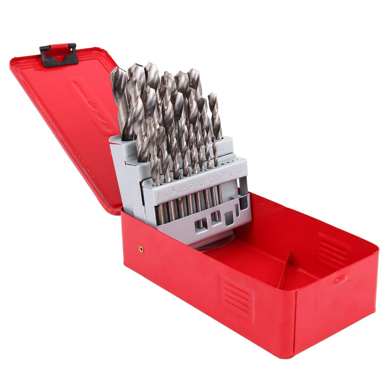 Muguang 25Pc High Speed Steel Twist Drill Bit Set 1mm-13mm 118 Degree Split Point Angle Metric HSS Drill Bit Tool Kit