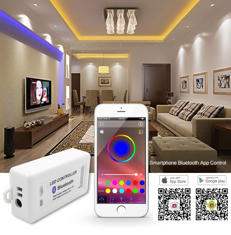 RGB/RGBW Bluetooth led strip light controller with smart phone