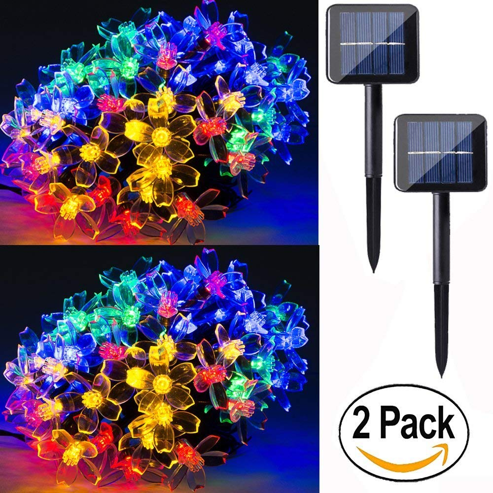 2 pack 50 led solar string lights 23 feet multi colored outdoor Christmas lights for party ,holiday, Festivals,birthday,outdoor, back yard, patio, lawn & garden decoration