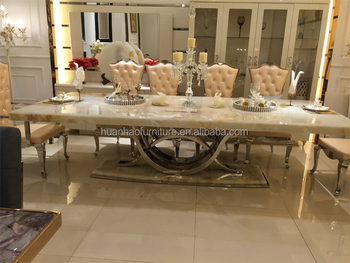 Dh 1401 Foshan Royal Large Imported Luxury Marble Top Dining Table With 10 Chairs