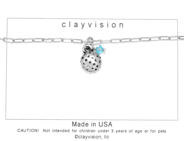 Clayvision Golf Ball (Flat) Charm Bracelet w/4mm Aquamarine Colored Swarovski Crystal March