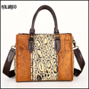 Fashion lady genuine leather tote bags leather handbag