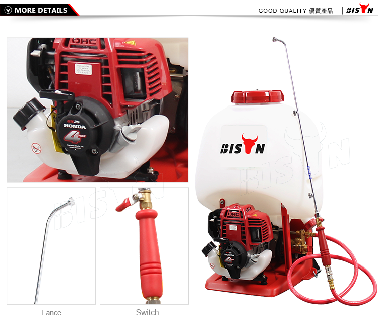 LS-968H 23L Bison high pressure motorized gasoline petrol agricultural power sprayer pump 4 stroke engine knapsack power sprayer