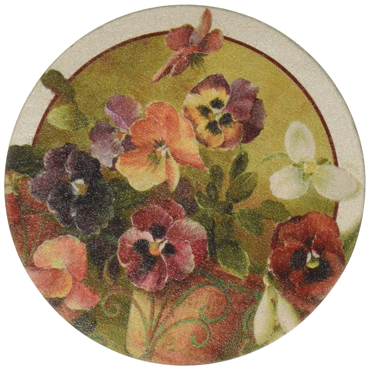 Thirstystone Drink Coaster Set, Pansies