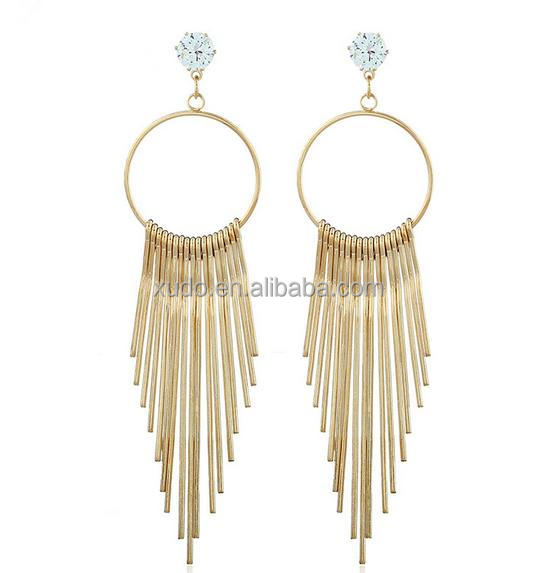 2017 women new designs gold jhumka earring long tassel earring