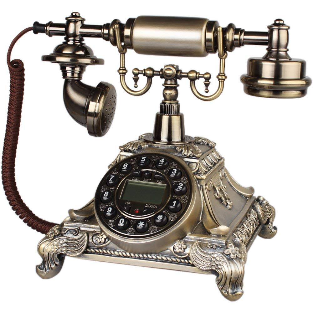 European Style Retro Telephone Rotate Dial Solid Wood Landline Button Dial 252615cm (Color : 3#)