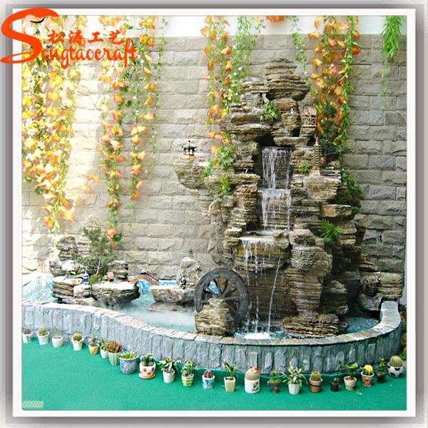 Guangzhou artificial modern fiberglass rock waterfall for Artificial pond in garden