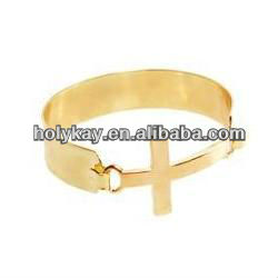 The newest design fashion jewel,alloy cross-shaped bangle bracelet,gold plated