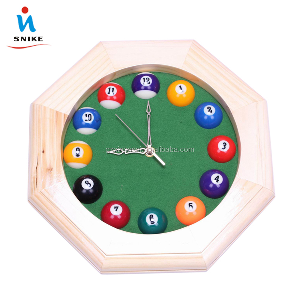 Cheap Modern wooden design pool ball clock for sale