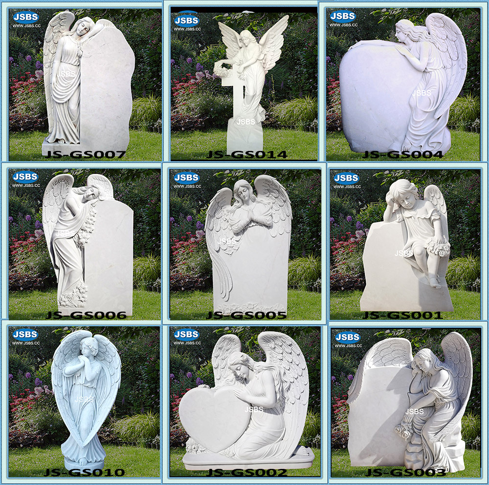 custom designed natural stone carved angel marble monument