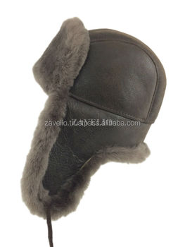 Genuine Shearling Sheepskin Russian Ushanka Aviator Trapper Fur Hat -  Cashmere 8a49616f2336