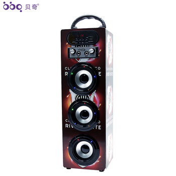 BBQ KBQ-608 15W 1200mAh Wooden Rechargeable Portable Speaker