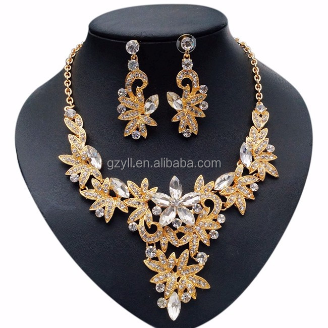Guangzhou Gemstone Jewelry Set Indian Bridal Kundan Jewelry Sets