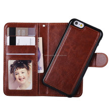 High quality 2 in 1 wallet back cover shell PU leather phone casefor iphone 6s