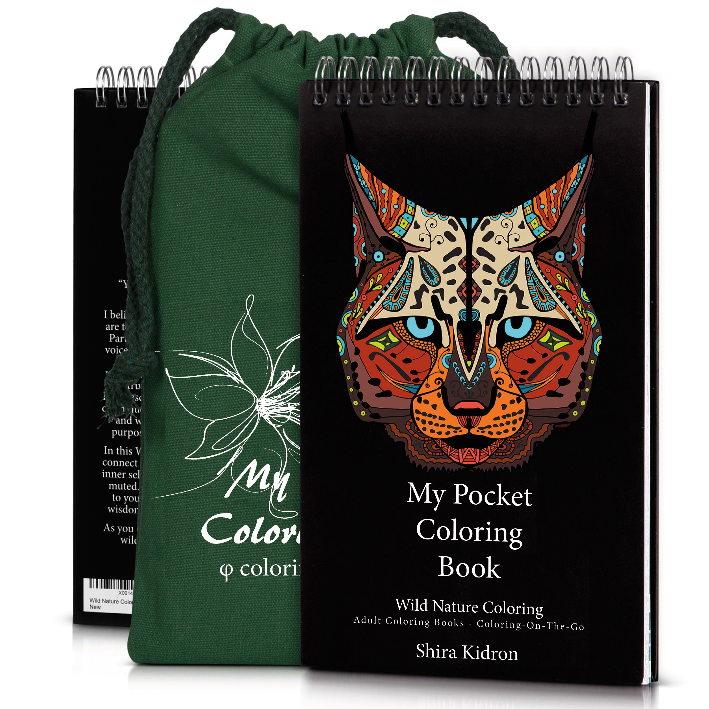 Coloring-On-The-Go Coloring Books for Adults & Grownups –74 Wild Nature Pages W/ Durable Designed Pouch& Hardcover Spiral Bound Format-Deluxe Portable DIY Craft Creative Kit -Be Artistic Everywhere!