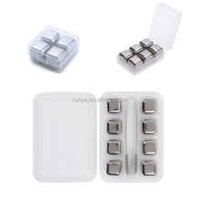 Metal Stainless Steel Reusable Ice Cubes Chilling Whiskey Stones with Freezer Storage Tray , Whisky Sipping Rocks