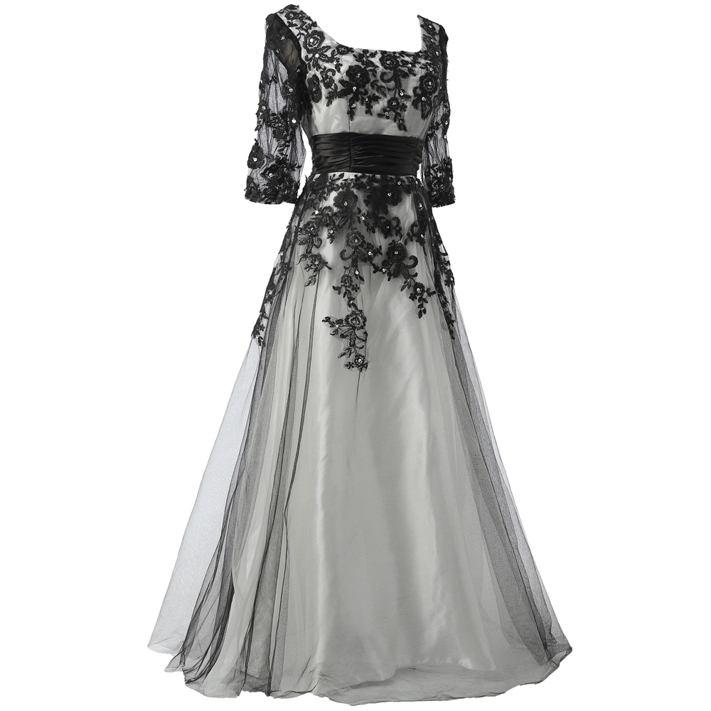 Grace Karin Long Black Lace Prom Dress Formal Ball Gown Evening Prom Party Dress Half Sleeve Vestidos De Festa CL6051