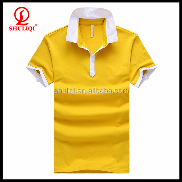 Durable and breathable yellow golf polo t shirt dry-fit